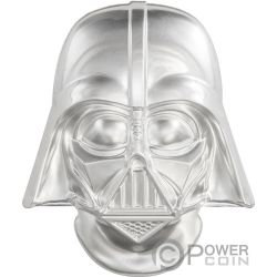 DARTH VADER HELMET Casco Ultra High Relief Star Wars 2 Oz Moneda Plata 5$ Niue 2019