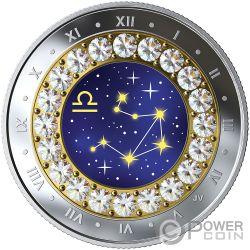 LIBRA Весы Знак Зодиака Swarovski Кристалл Монета Серебро 5$ Канада 2019