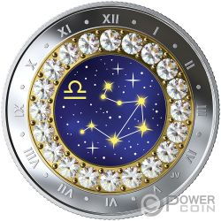 LIBRA Zodiac Swarovski Crystal Moneda Plata 5$ Canada 2019