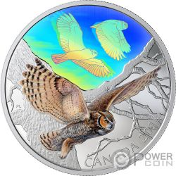 GREAT HORNED OWLS Majestic Birds in Motion 2 Oz Монета Серебро 30$ Канада 2019