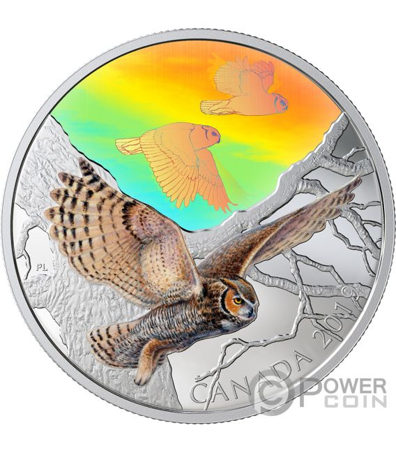GREAT HORNED OWLS Majestic Birds in Motion 2 Oz Silver Coin 30$ Canada 2019