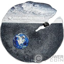 ESTACADO Meteorite Impacts Silver Coin 2$ Cook Islands 2019