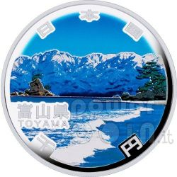 TOYAMA 47 Prefectures (14) Plata Proof Moneda 1000 Yen Japan Mint 2011