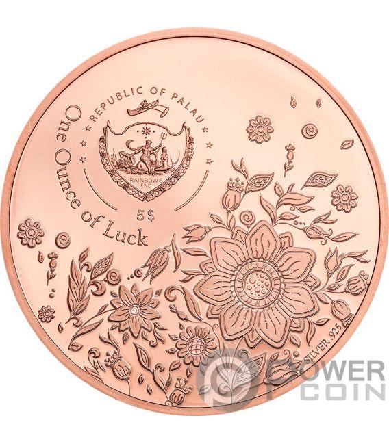 OUNCE OF LUCK Four Leaf Clover 1 Oz Silver Coin 5$ Palau 2020