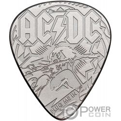 PLUG ME IN ACDC Plectrum Guitar Pick 1/4 Oz Silver Coin 2$ Cook Islands 2019