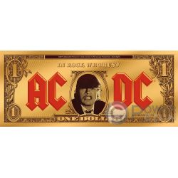 ANGUS BUCK ACDC 1/2 Oz Moneta Banconota Oro 1$ Cook Islands 2019