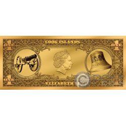 ANGUS BUCK ACDC Moneda Billete Oro 1$ Cook Islands 2019