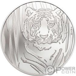 HIDDEN TIGER Tigre 1/2 Oz Moneta Argento 250 Togrog Mongolia 2019