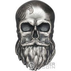 BIKER SKULL Schädel Shape 1 Oz Silber Münze 5$ Palau 2019