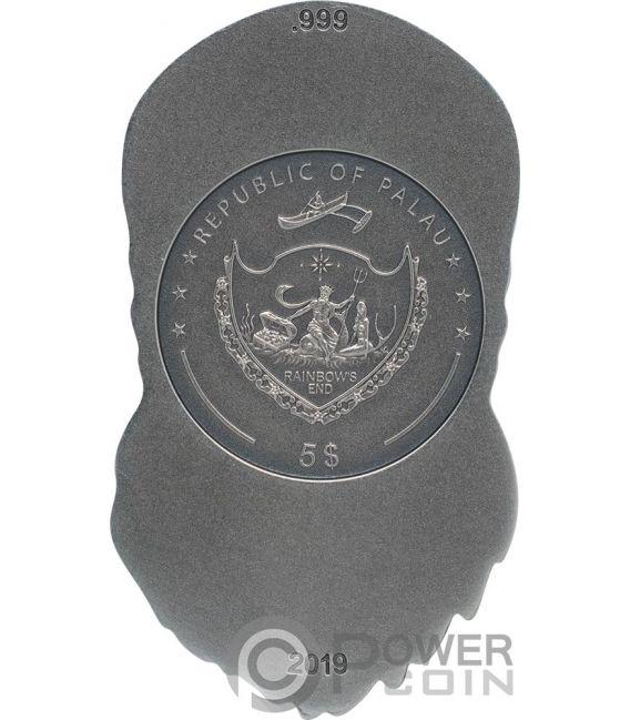 BIKER SKULL Shape 1 Oz Серебро Монета 5$ Палау 2019