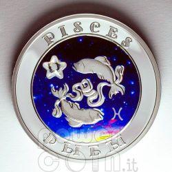PISCES Horoscope Zodiac Zircon Silver Coin Armenia 2008