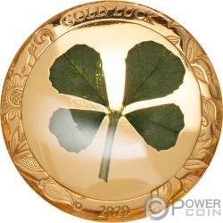 FOUR LEAF CLOVER Good Luck Gold Coin 1$ Palau 2020