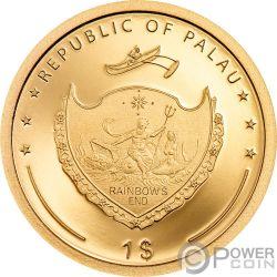 FOUR LEAF CLOVER Quadrifoglio Fortuna Moneta Oro 1$ Palau 2020