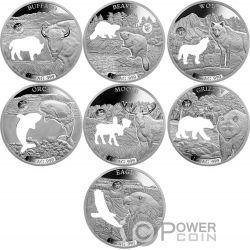 SHAPES OF AMERICA Formas Cutout Set 8x1 Oz Moneda Plata 5$ Barbados 2020