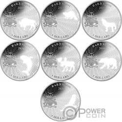 SHAPES OF AMERICA Gestalten Cutout Set 8x1 Oz Silber Münze 5$ Barbados 2020