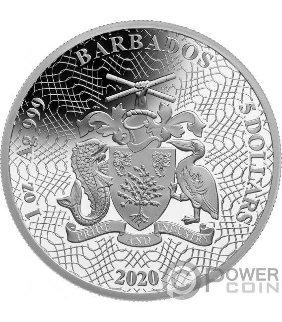 SHAPES OF AMERICA Cutout Set 8x1 Oz Silver Coin 5$ Barbados 2020