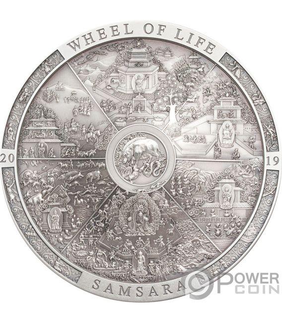 SAMSARA WHEEL OF LIFE Archeology Symbolism 3 Oz Silber Münze 20$ Cook Islands 2019