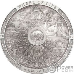 SAMSARA WHEEL OF LIFE Calendario Archeology Symbolism 3 Oz Moneta Argento 20$ Cook Islands 2019
