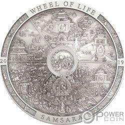 SAMSARA WHEEL OF LIFE Archeology Symbolism 3 Oz Silver Coin 20$ Cook  Islands 2019