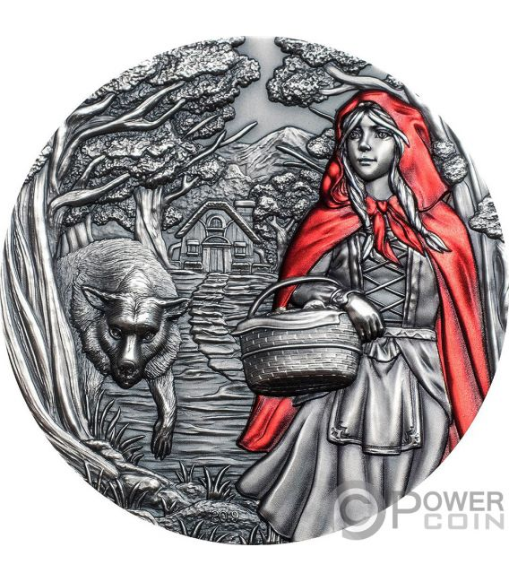 LITTLE RED RIDING HOOD Cappuccetto Rosso Fairy Tales Fables 3 Oz Moneta Argento 20$ Cook Islands 2019