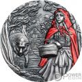 LITTLE RED RIDING HOOD Rotkäppchen Fairy Tales Fables 3 Oz Silber Münze 20$ Cook Islands 2019