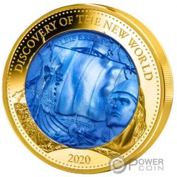 DISCOVERY NEW WORLD Leif Erikson Mother Of Pearl 5 Oz Moneda Oro 100$ Solomon Islands 2020