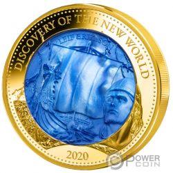 DISCOVERY NEW WORLD Leif Erikson Mother Of Pearl 5 Oz Moneta Oro 100$ Solomon Islands 2020