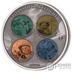 HONOURING TITANS SPACEFLIGHT Weltraumfahrt 4 Titanium 1/2 Kg Silber Münze 10$ Fiji 2020