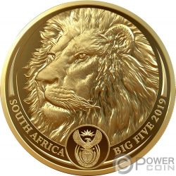 LION Leon Big Five 1 Oz Moneda Oro 50 Rand South Africa 2019