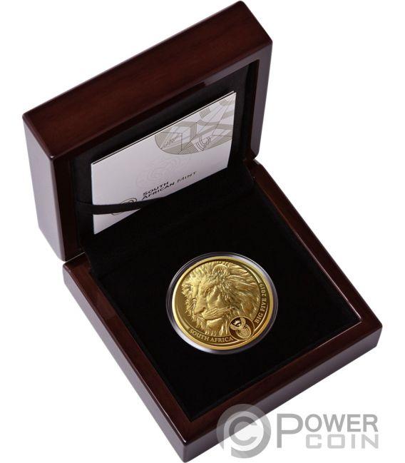LION Leon Big Five 1 Oz Moneda Oro 50 Rand South Africa 2019