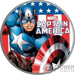 CAPTAIN AMERICA Marvel 1 Oz Moneda Plata 1$ Tuvalu 2019