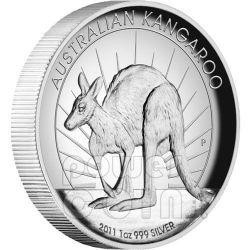 CANGURO ALTI RILIEVI Moneta Argento 1$ Australia 2011