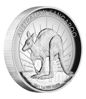 KANGAROO HIGH RELIEF Silver Coin 1$ Australia 2011