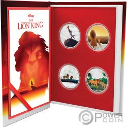 LION KING Rey Leon Disney Set 4x1 Oz Monedas Plata 2$ Niue 2019