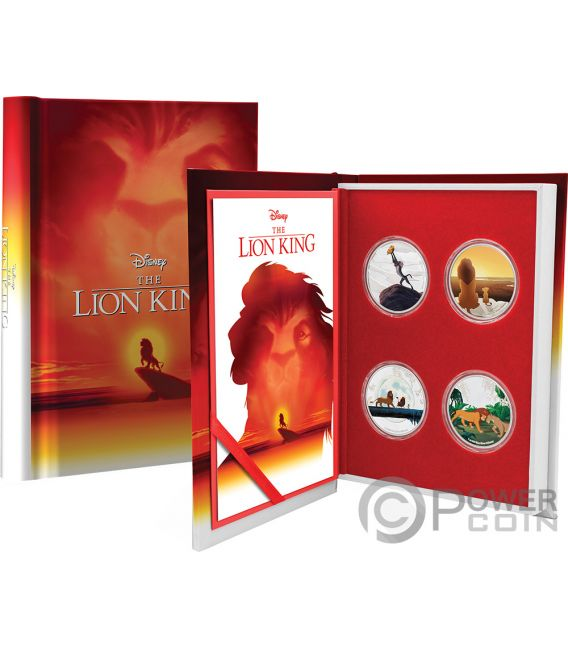 LION KING Re Leone Disney Set 4x1 Oz Monete Argento 2$ Niue 2019