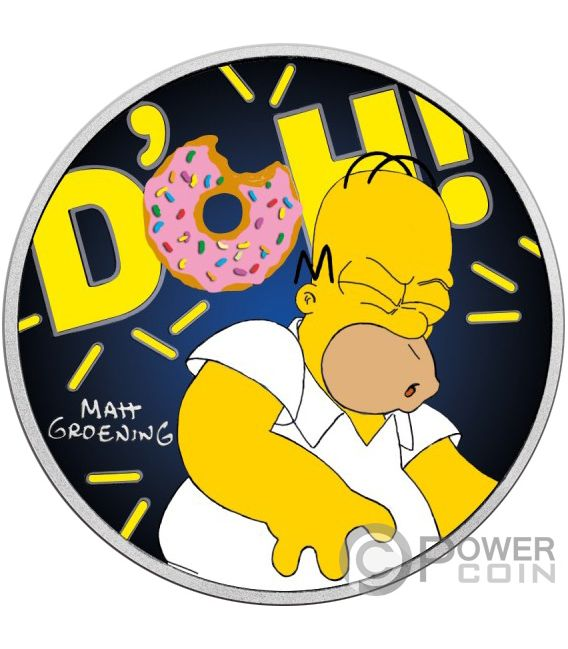 HOMER Coloured Simpsons 1 Oz Silver Coin 1$ Tuvalu 2019