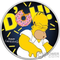 HOMER Coloured Simpsons 1 Oz  Монета Серебро 1$ Тувалу 2019