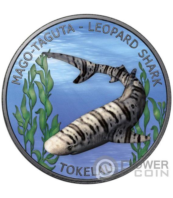 LEOPARD SHARK Ruthenium 1 Oz Silver Coin 5$ Tokelau 2018