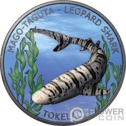 LEOPARD SHARK Акула Рутений 1 Oz Монета Серебро 5$ Токелау 2018