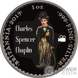 CHARLIE CHAPLIN Британия Рутений 1 Oz Монета Серебро 2£ Фунт Великобритания 2019