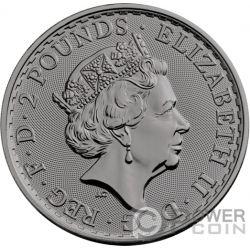CHARLIE CHAPLIN Britannia Rutenio 1 Oz Moneta Argento 2£ Pound United Kingdom 2019