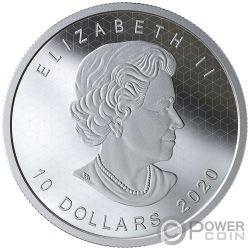 PULSATING MAPLE LEAF Efecto Optico 2 Oz Moneda Plata 10$ Canada 2020
