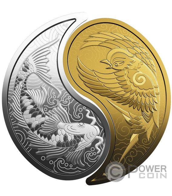 YIN YANG Koi Fish Sparrow Set 2 Silver Gold Coins 10$ 200$ Canada 2019