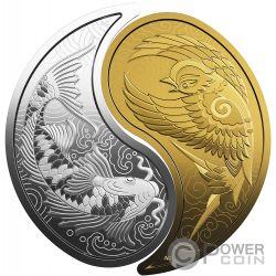YIN YANG Karpfen Sperling Set 2 Silber Gold Münzen 10$ 200$ Canada 2019