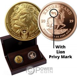 BIG FIVE With Privy Lion Krugerrand Set 2x1 Oz Monedas Oro 51 Rand South Africa 2019