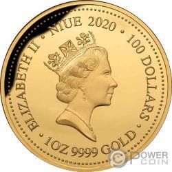 SNAKE NECK TURTLE Remarkable Reptiles 1 Oz Gold Coin 100$ Niue 2020