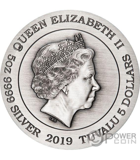 DRAGON AND Дракон  5 Oz Монета Серебро  5$ Тувалу 2019