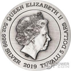DRAGON AND PHOENIX Drachen Phönix 5 Oz Silber Münze 5$ Tuvalu 2019