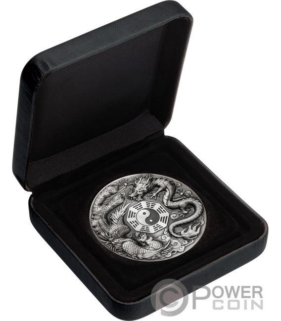 DRAGON AND PHOENIX 5 Oz Silver Coin 5$ Tuvalu 2019