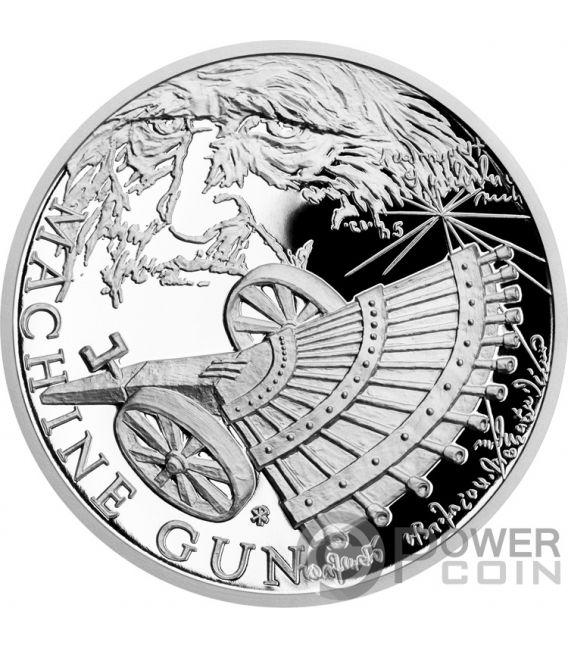 MACHINE GUN 500th Anniversary Leonardo Da Vinci 1 Oz Moneda Plata 1$ Niue 2019
